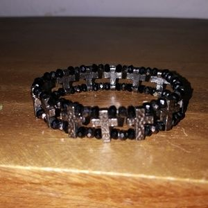 Jewelry - Beaded double strand  cross stretch goth punk